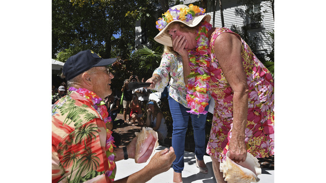Woman wins Keys conch-blowing contest; accepts proposal