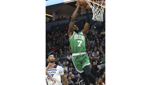 Celtics forward Jaylen Brown leaves game after hard landing