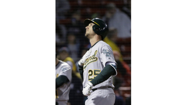 A's Stephen Piscotty homers in first at-bat back from mom's funeral