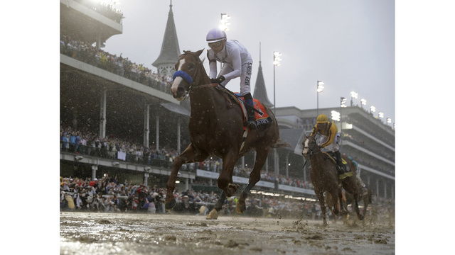Heavy favorite Justify prepares for muddy Preakness