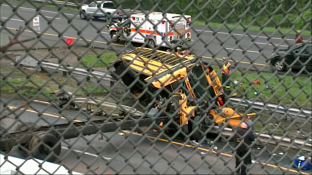 Multiple people hurt after school bus, dump truck crash
