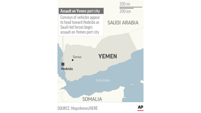 Air strikes target Yemen rebel positions in port offensive