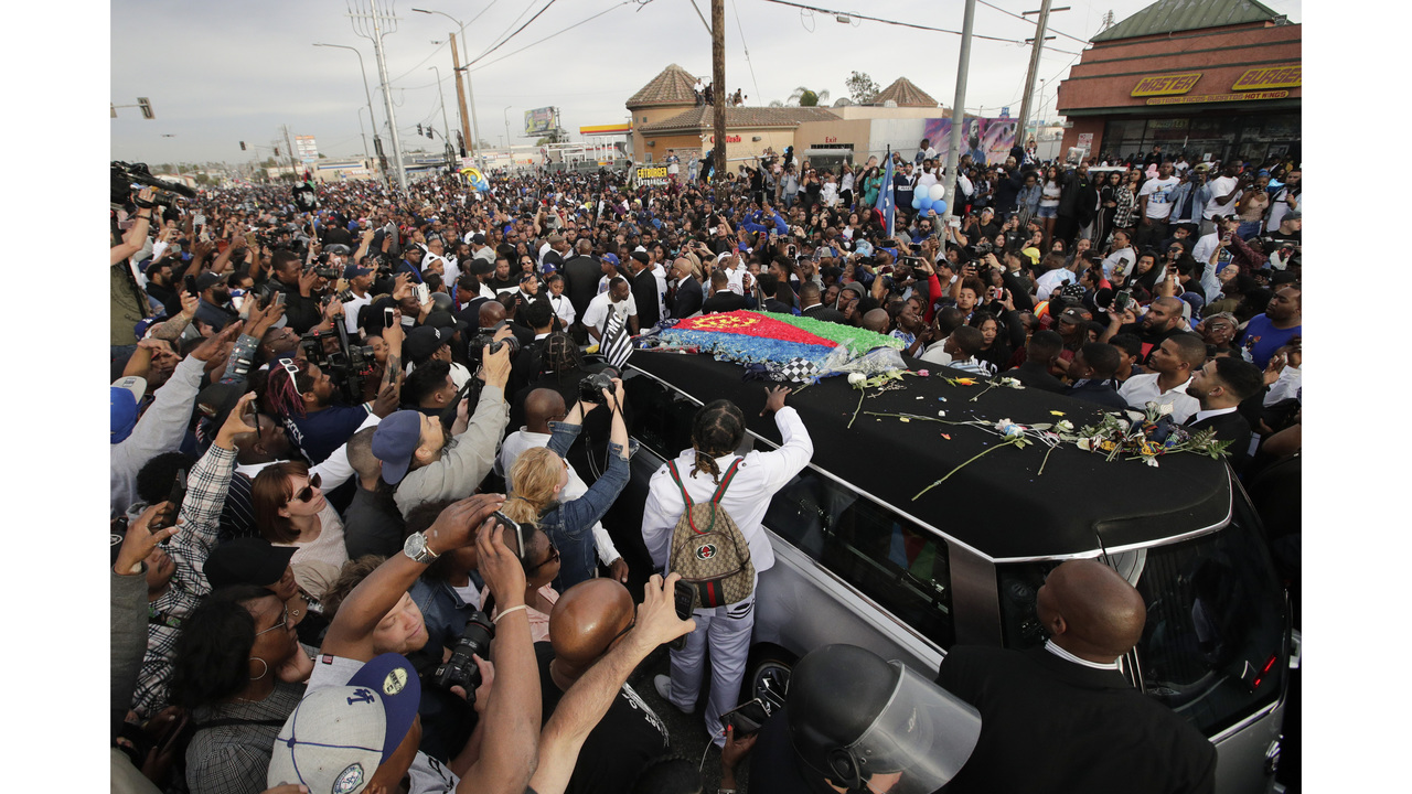 The Latest: Fans, mourners arrive for Nipsey Hussle memorial